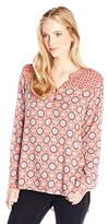 Eyeshadow Junior's Long Sleeve Printed Button-Front Pullover Top