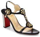 Christian Louboutin Kaleitop Embellished Leather & Suede T-Strap Sandals