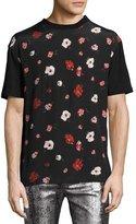 McQ Floral-Print Crewneck T-Shirt, Black