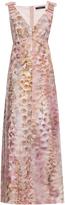Giles Foxglove-print crepe gown