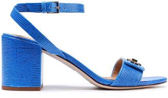Tory Burch Logo-embellished Lizard-effect Leather Sandals
