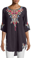 Johnny Was Aubrieta Embroidered Georgette Blouse