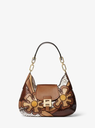 Michael Kors Bancroft Small Patchwork Snakeskin and Leather Shoulder Bag