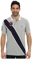 U.S. Polo Assn. Diagonal Stripes Short Sleeve Pique Polo