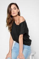 7 For All Mankind Linen Flutter Sleeve Tee In Black