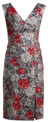 Erdem Joyti Rose-jacquard Dress - Womens - Red Multi