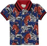 Gucci Tiger-Print Piqué-Knit Stretch-Cotton Polo Shirt