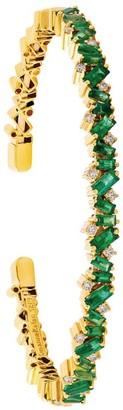 Suzanne Kalan Yellow Gold, Diamond and Emerald Fireworks Frenzy Bangle