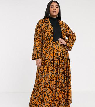 Verona curve maxi duster jacket in abstract print-Orange