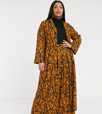 Verona curve maxi duster jacket in abstract print