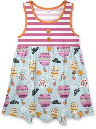 Penelope Plumm Girls' Casual Dresses - Magenta & Powder Blue Stripe Balloons Sleeveless Babydoll Dress - Toddler & Girls