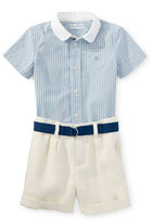 Ralph Lauren Short-Sleeve Shirt w/ Linen Shorts & Belt, Blue, Size 9-24 Months