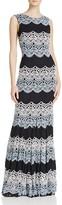 Aqua Tricolor Lace Gown