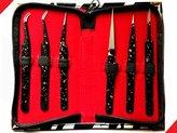 ZZZRT Black Fine Points (Perfectly aligned tips) Tweezers Set 6-Piece, Eyebrow Kit + Free Zebra Rexine Pouch