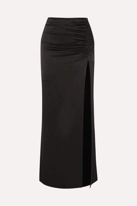 Alice + Olivia Diana Ruched Satin Maxi Skirt - Black
