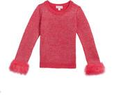 Design History Girls Girl's Metallic Knit Sweater w/ Faux Fur Cuffs, Size 2-6X