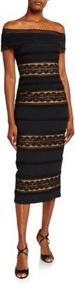 ZUHAIR MURAD Off-the-Shoulder Lace-Striped Midi Dress