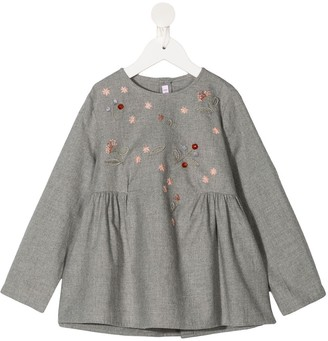 Il Gufo Floral-Embroidered Smock Blouse