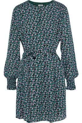 Jason Wu Shirred Floral-print Crepe De Chine Mini Dress