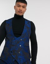 Twisted Tailor super skinny fit suit vest with floral jaquard in blue