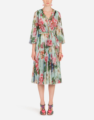 Dolce & Gabbana Crossed Chiffon Midi Dress With Floral Ombre Print