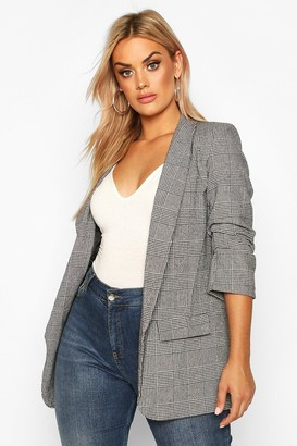 boohoo Plus Dogtooth Prince Of Wales Check Blazer