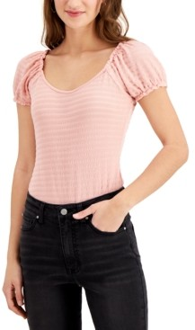 Derek Heart Juniors' Textured Puff-Sleeve Bodysuit