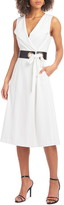Christian Siriano Belted Fit & Flare Midi Dress