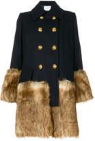Sacai double breasted faux fur coat