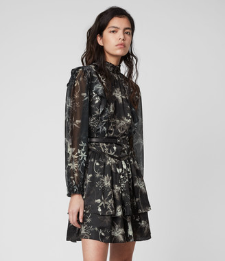 AllSaints Aislyn Silk Blend Evolution Dress