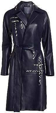 St. John Women's Engineered Lattice Leather Trench Coat
