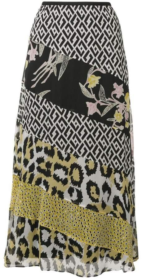 Diane von Furstenberg patchwork midi skirt