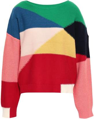 Joie Megu Color-block Wool And Cashmere-blend Sweater