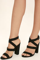 Glaze Regina Black Suede High Heel Sandals