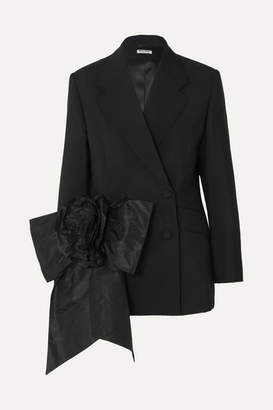 Miu Miu Bow-embellished Mohair And Wool-blend Blazer - Black