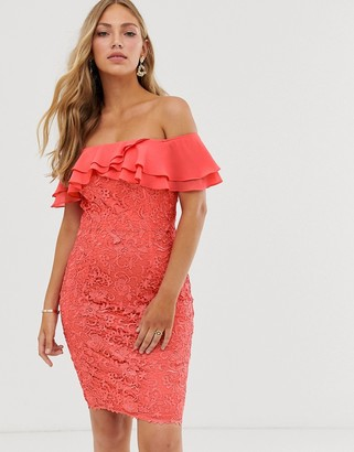 Paper Dolls ruffle bardot lace pencil dress in soft coral
