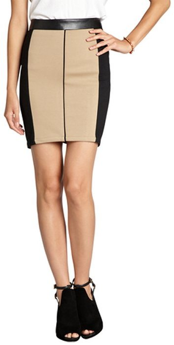 Wyatt black and khaki ponte faux leather trimmed pencil skirt