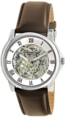 Kenneth Cole New York Automatic Skeleton Dial Leather Strap Watch