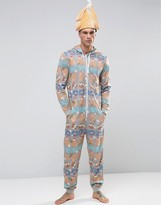 Asos Loungewear Onesie With Crazy Holidays Print
