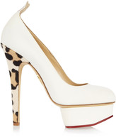 Charlotte Olympia Love Dolly twill and calf hair pumps