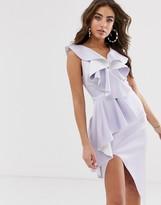 Asos Design DESIGN plunge ruffle midi dress with waterfall skirt