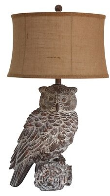 3.1 Phillip Lim Millwood Pines Landover Resin Owl Table Lamp Millwood Pines Shade Color: Brown, Base Color: Gray
