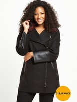 V By Very Curve CONTRAST FUR ASYMMETRIC ZIP COAT