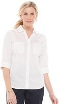 Croft & Barrow Women's Knit-To-Fit Roll Tab Sleeve Shirt