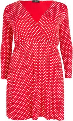Evans **Aarya Red Polka Dot Wrap Dress