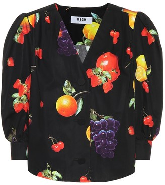 MSGM Printed cotton blouse