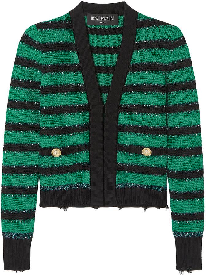 Balmain Embellished Striped Stretch-knit Blazer