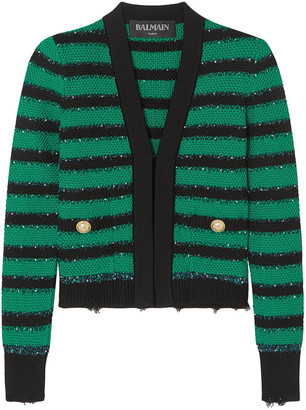 Balmain Embellished Striped Stretch-knit Blazer