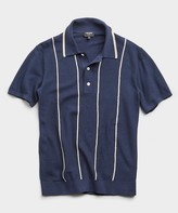 Todd Snyder Tipped Wide Stripe Mesh Polo Sweater in Navy