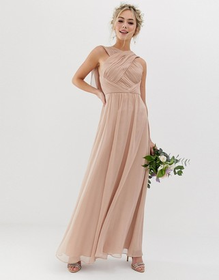 Asos Design DESIGN Bridesmaid cross front soft drape maxi dress-Beige